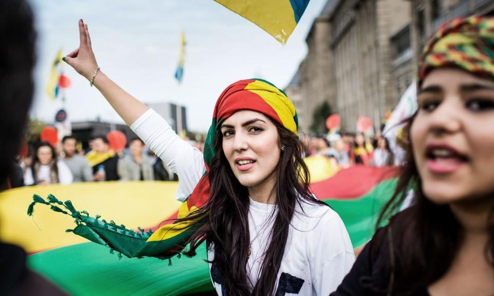 kurdish protester in Düsseldorf